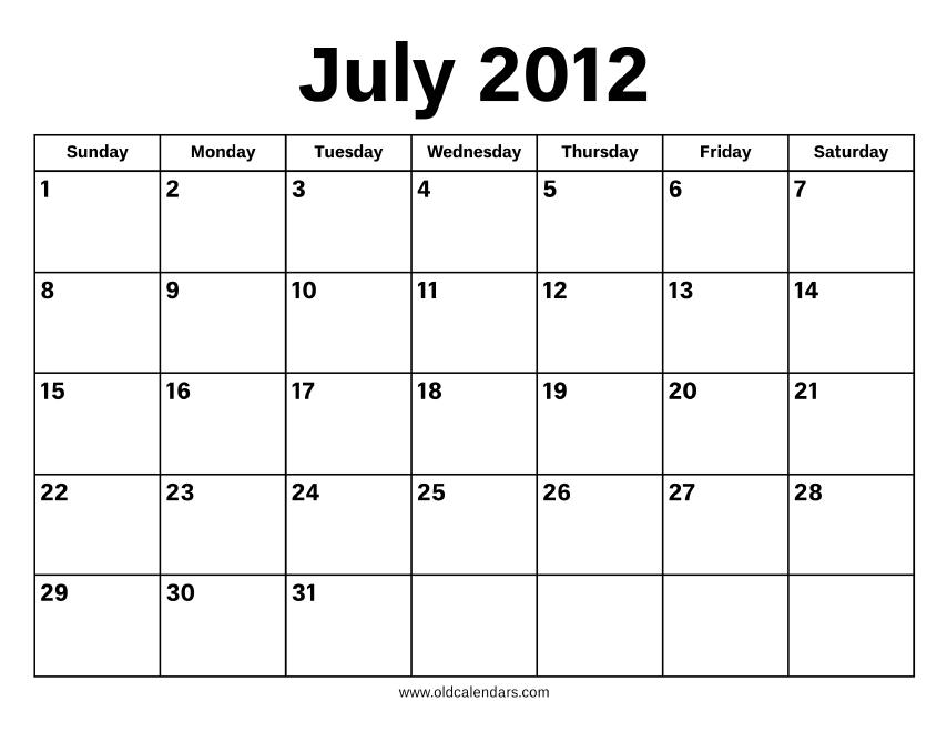 July 2012 Calendar – Printable Old Calendars