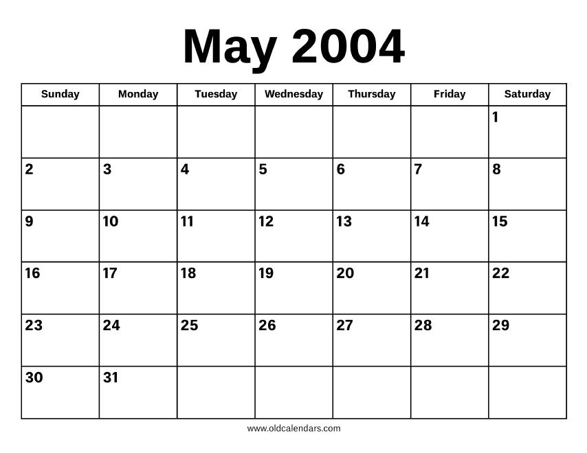 May 2004 Calendar – Printable Old Calendars