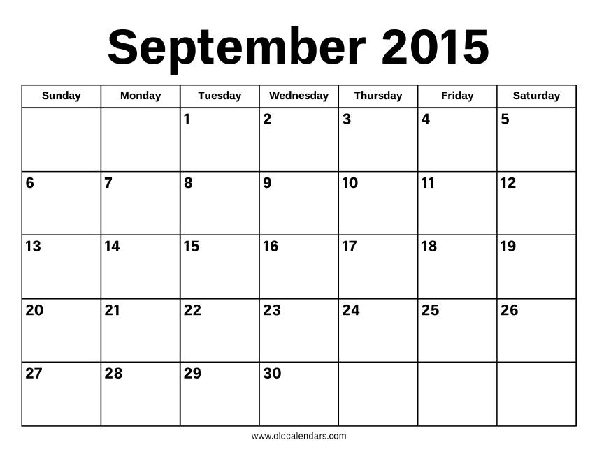 September 2015 Calendar – Printable Old Calendars