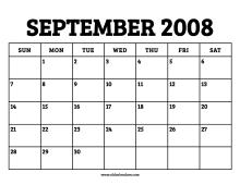 September 2008 Calendar